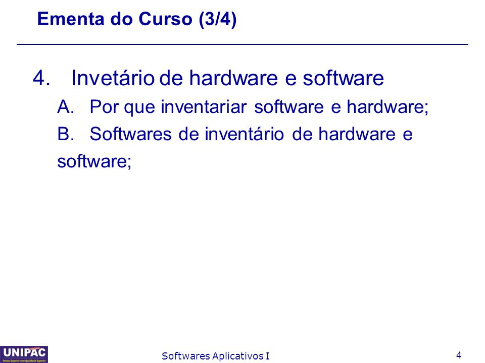 Invetário de hardware e software