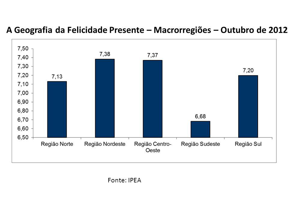 A Geografia da Felicidade Presente – Macrorregiões – Outubro de 2012