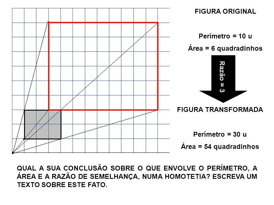 FIGURA ORIGINAL Perímetro = 10 u. Área = 6 quadradinhos. Razão = 3. FIGURA TRANSFORMADA. Perímetro = 30 u.