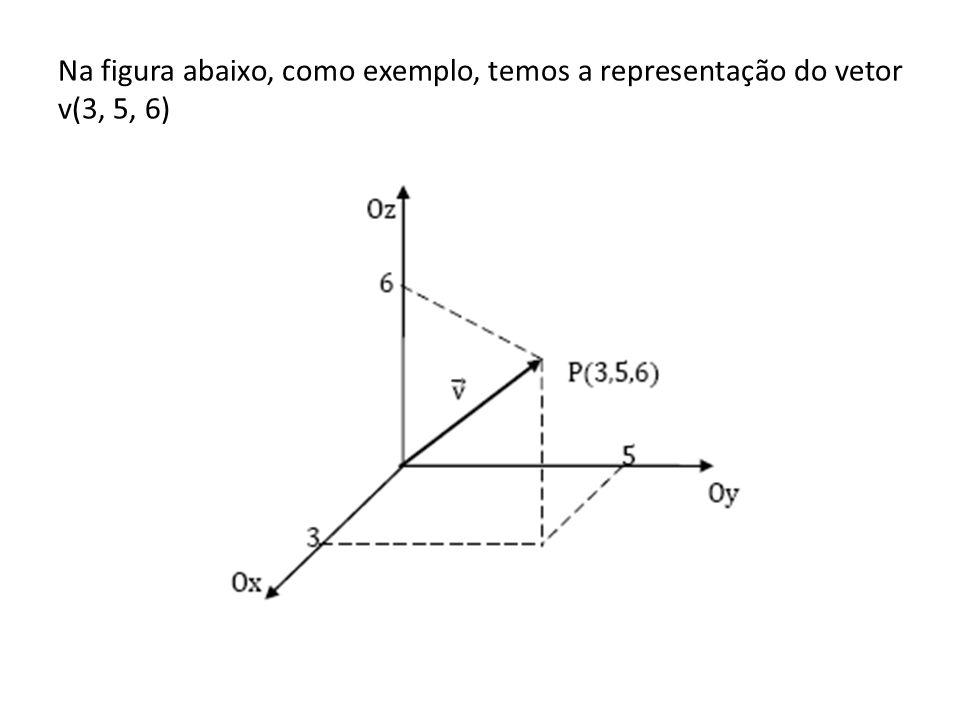 Na figura abaixo, como exemplo, temos a representação do vetor v(3, 5, 6)