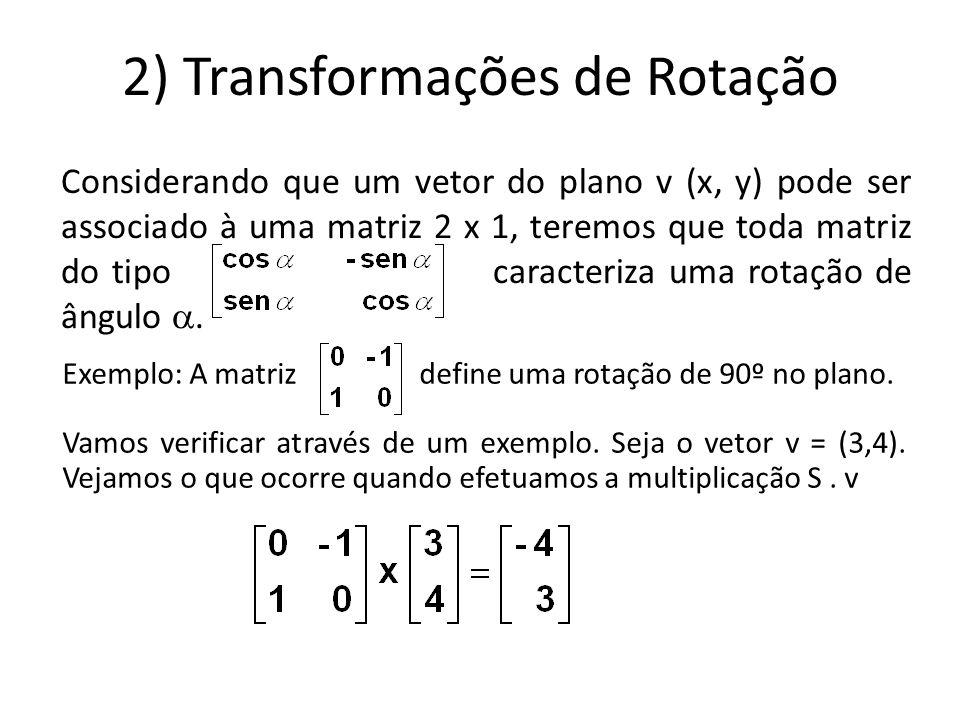2) Transformações de Rotação