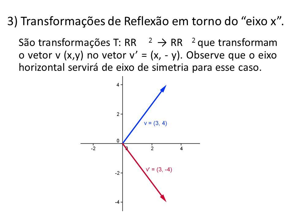 3) Transformações de Reflexão em torno do eixo x .