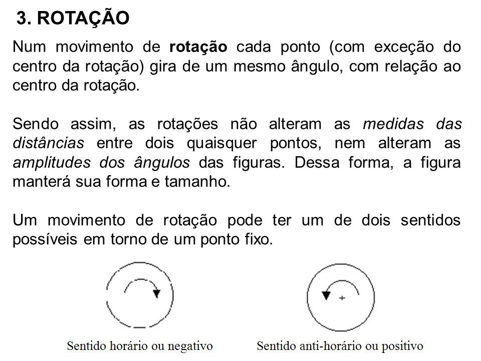 3. ROTAÇÃO Num movimento de rotação cada ponto (com exceção do centro da rotação) gira de um mesmo ângulo, com relação ao centro da rotação.