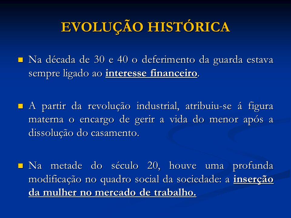 EVOLUÇÃO HISTÓRICA Na década de 30 e 40 o deferimento da guarda estava sempre ligado ao interesse financeiro.