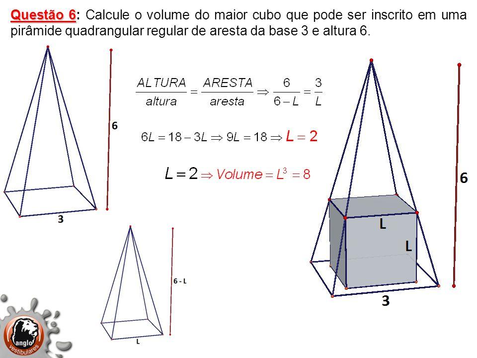 Questão 6: Calcule o volume do maior cubo que pode ser inscrito em uma pirâmide quadrangular regular de aresta da base 3 e altura 6.