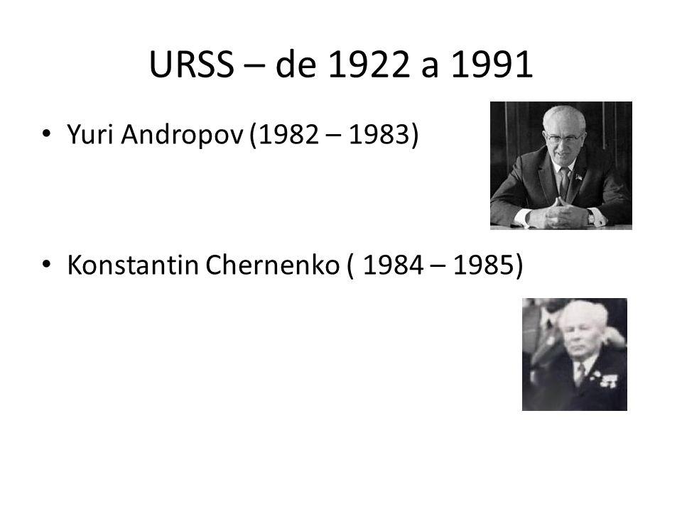 URSS – de 1922 a 1991 Yuri Andropov (1982 – 1983)