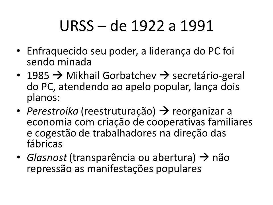 URSS – de 1922 a 1991 Enfraquecido seu poder, a liderança do PC foi sendo minada.