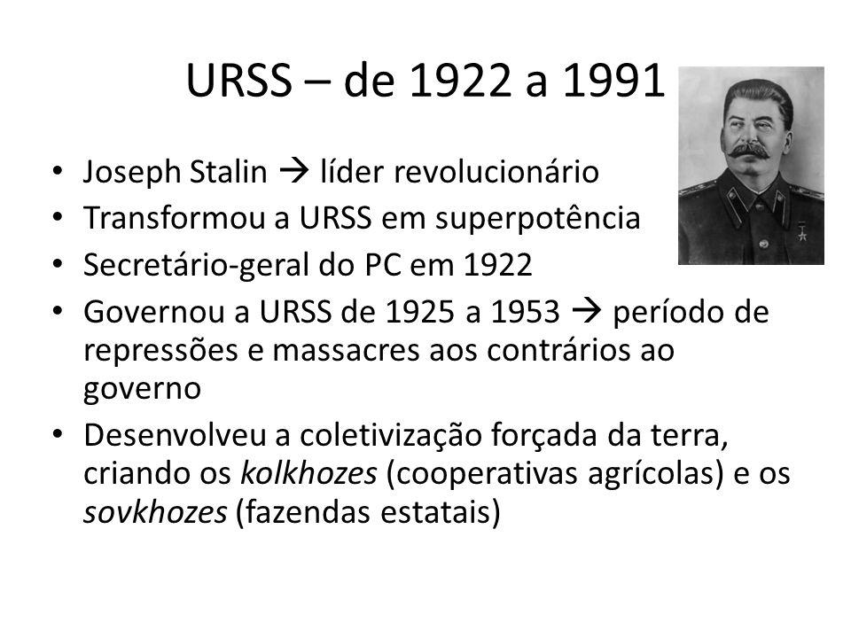 URSS – de 1922 a 1991 Joseph Stalin  líder revolucionário