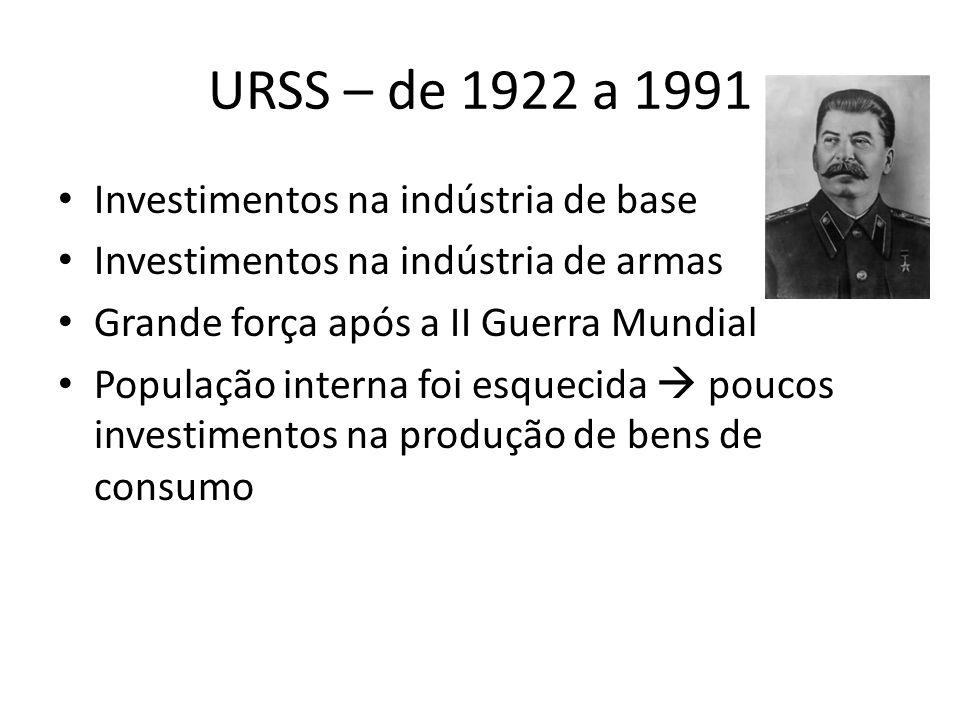 URSS – de 1922 a 1991 Investimentos na indústria de base