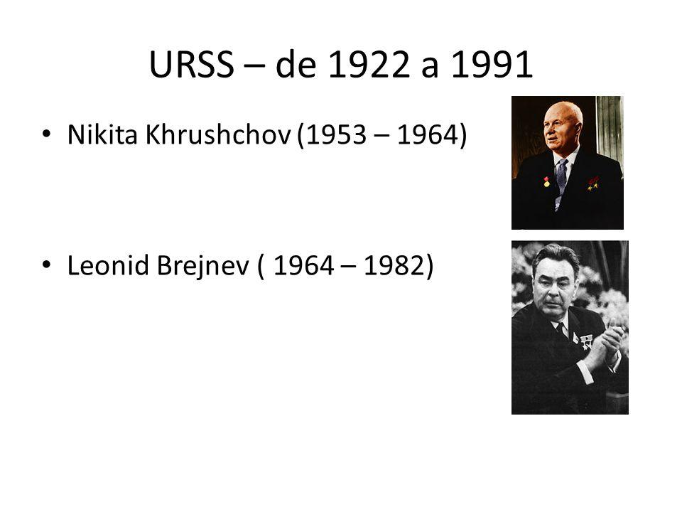 URSS – de 1922 a 1991 Nikita Khrushchov (1953 – 1964)