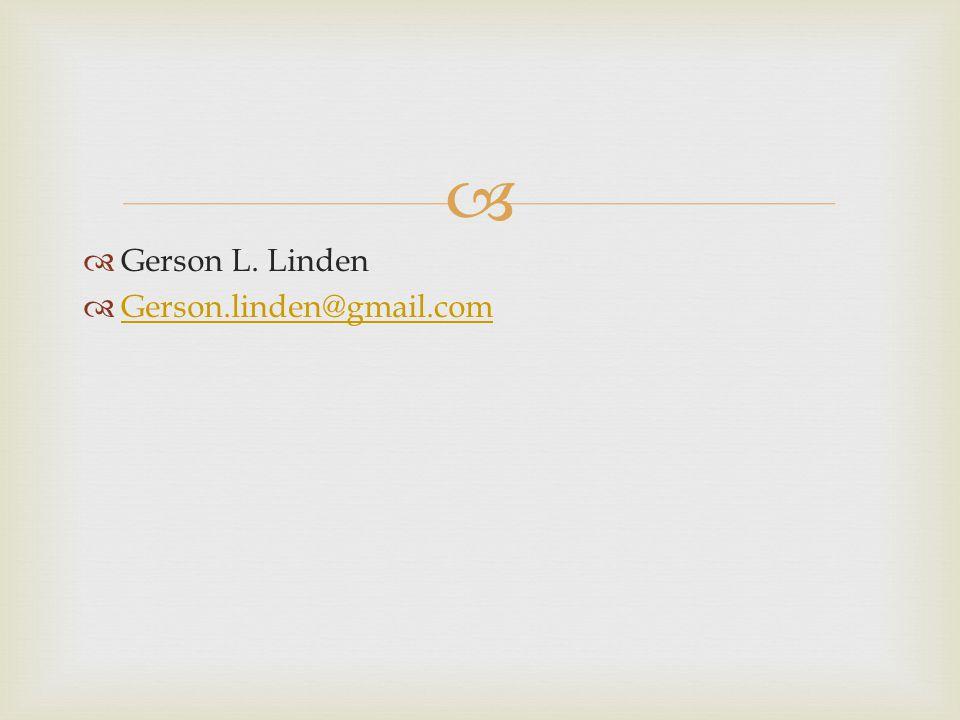 Gerson L. Linden Gerson.linden@gmail.com