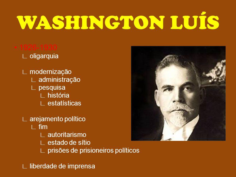 WASHINGTON LUÍS • 1926-1930 ∟ oligarquia ∟ modernização