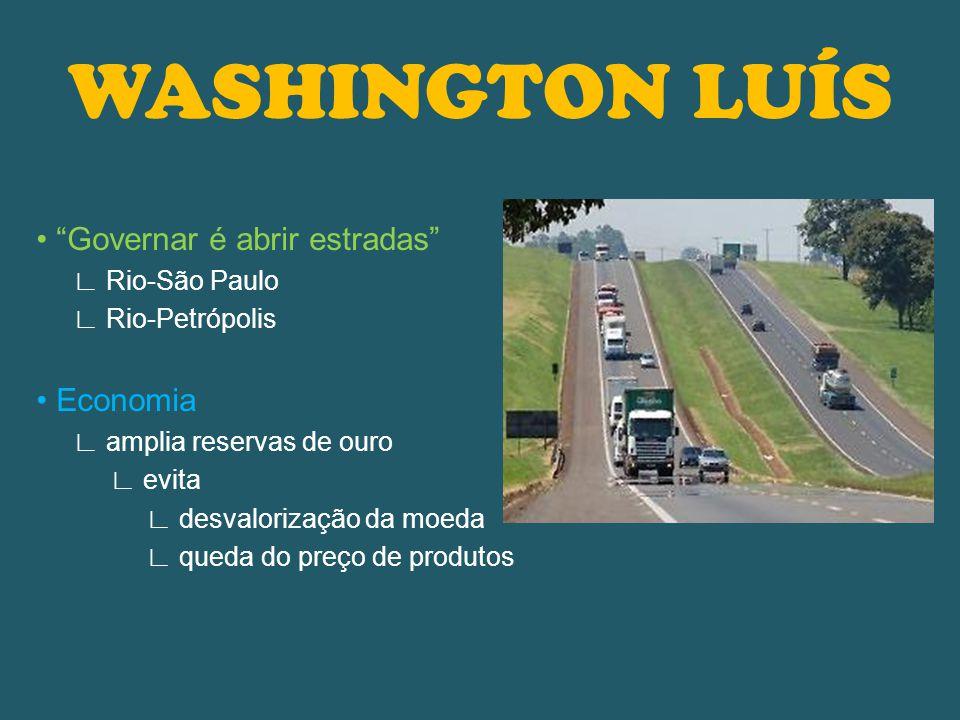 WASHINGTON LUÍS • Governar é abrir estradas • Economia