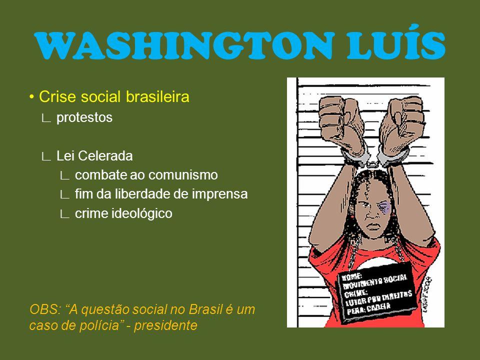 WASHINGTON LUÍS • Crise social brasileira ∟ protestos ∟ Lei Celerada