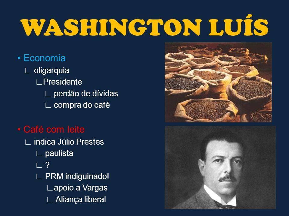 WASHINGTON LUÍS • Economia • Café com leite ∟ oligarquia ∟Presidente