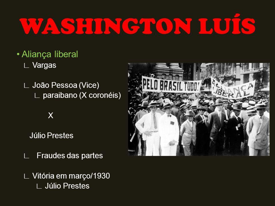 WASHINGTON LUÍS • Aliança liberal ∟ Vargas ∟ João Pessoa (Vice)