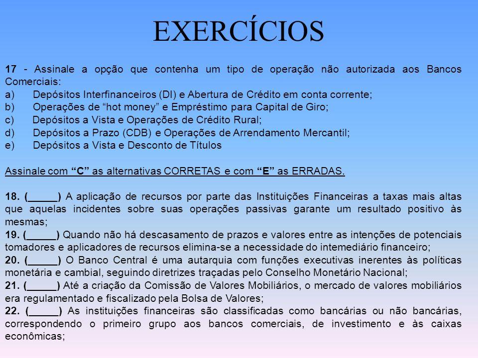 EXERCÍCIOS 17 - Assinale a opção que contenha um tipo de operação não autorizada aos Bancos Comerciais: