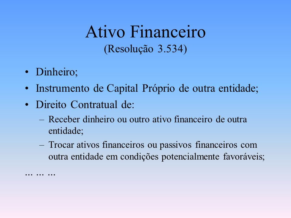 Ativo Financeiro (Resolução 3.534)
