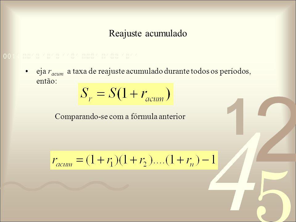 Reajuste acumulado eja racum a taxa de reajuste acumulado durante todos os períodos, então: Comparando-se com a fórmula anterior.