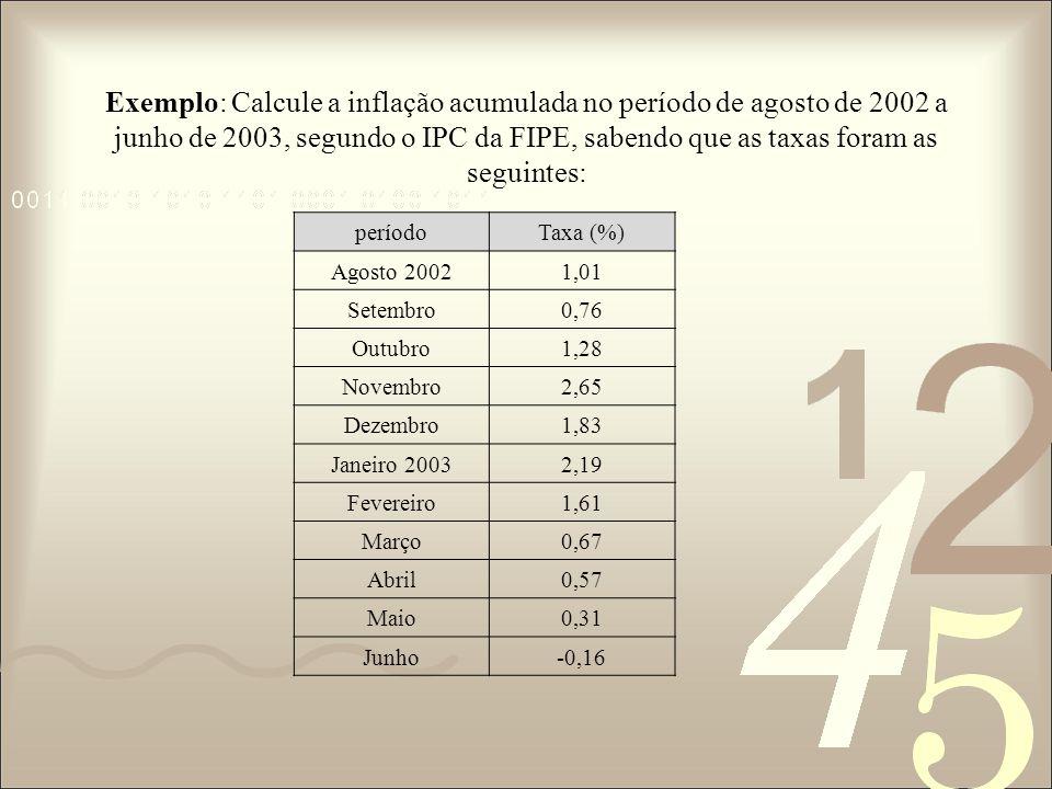 Exemplo: Calcule a inflação acumulada no período de agosto de 2002 a junho de 2003, segundo o IPC da FIPE, sabendo que as taxas foram as seguintes: