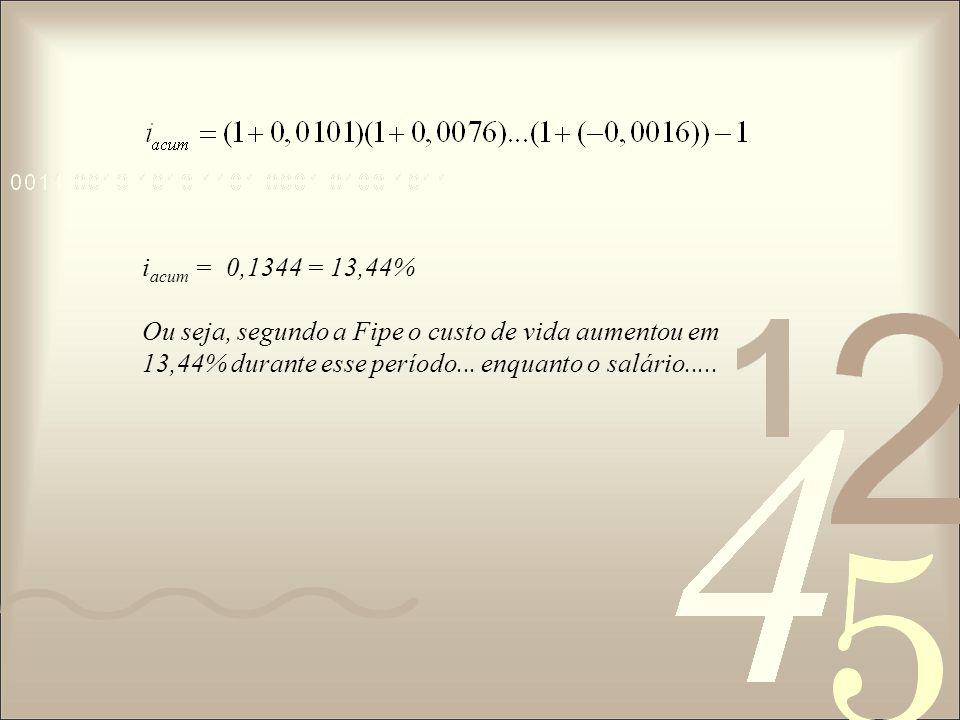 iacum = 0,1344 = 13,44% Ou seja, segundo a Fipe o custo de vida aumentou em 13,44% durante esse período...
