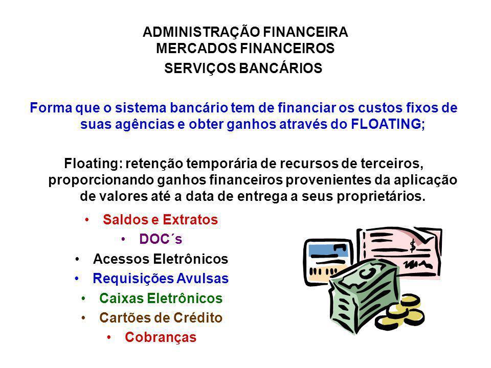 SERVIÇOS BANCÁRIOS Forma que o sistema bancário tem de financiar os custos fixos de suas agências e obter ganhos através do FLOATING;