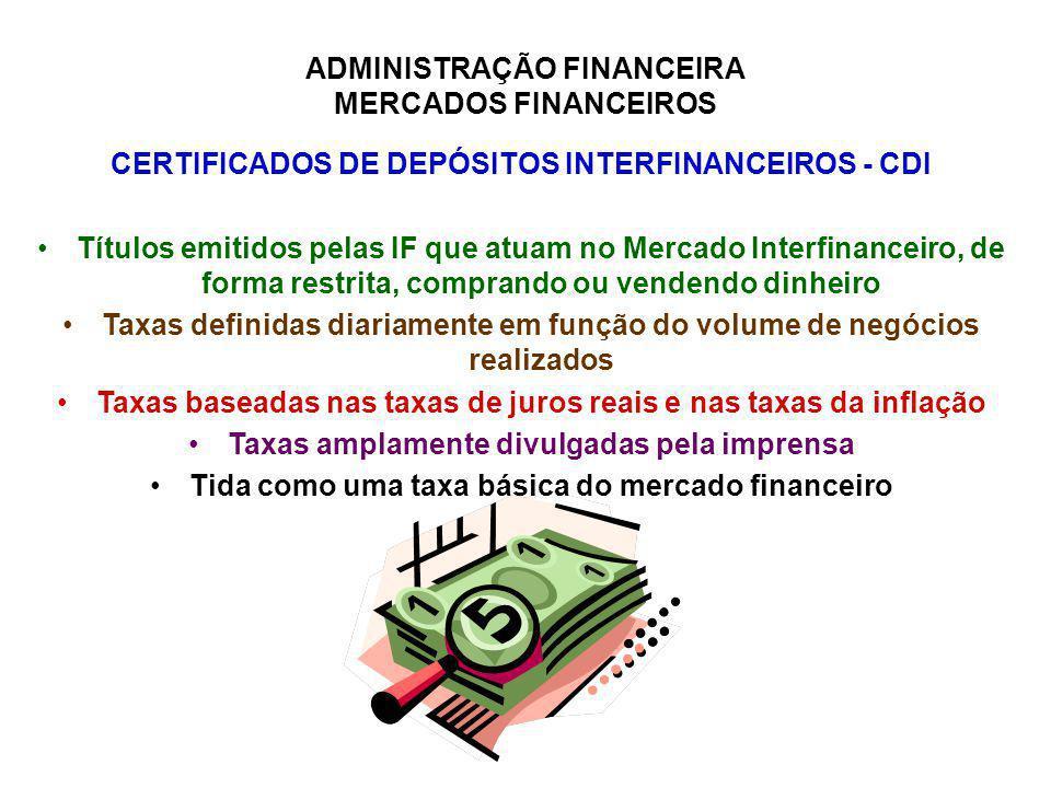 CERTIFICADOS DE DEPÓSITOS INTERFINANCEIROS - CDI