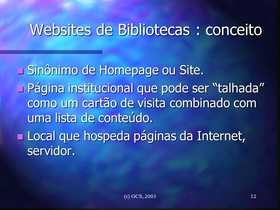 Websites de Bibliotecas : conceito