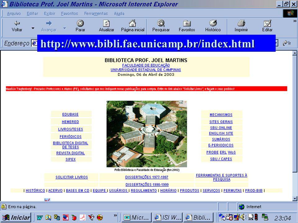 Website da Biblioteca Prof. Joel Martins - FE/UNICAMP