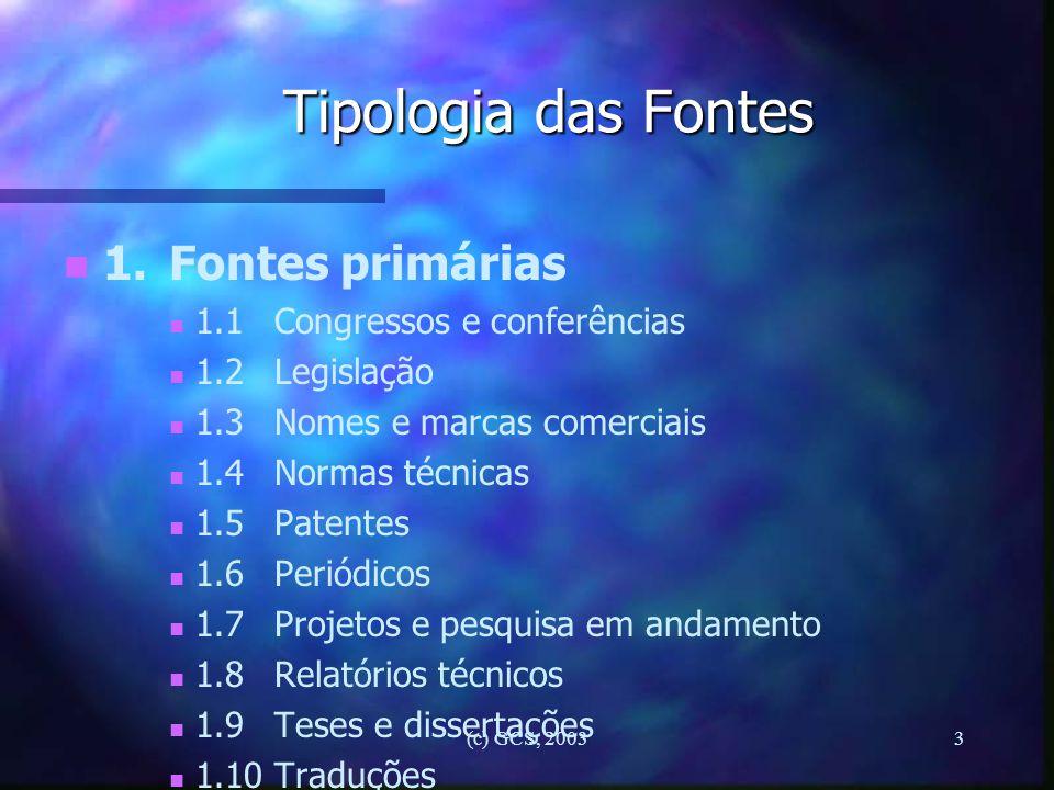 Tipologia das Fontes 1. Fontes primárias 1.1 Congressos e conferências