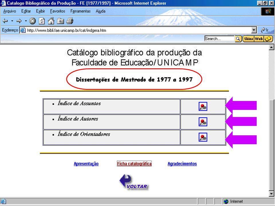 Catálogo Bibliográficos de Dissertação - FE/UNICAMP