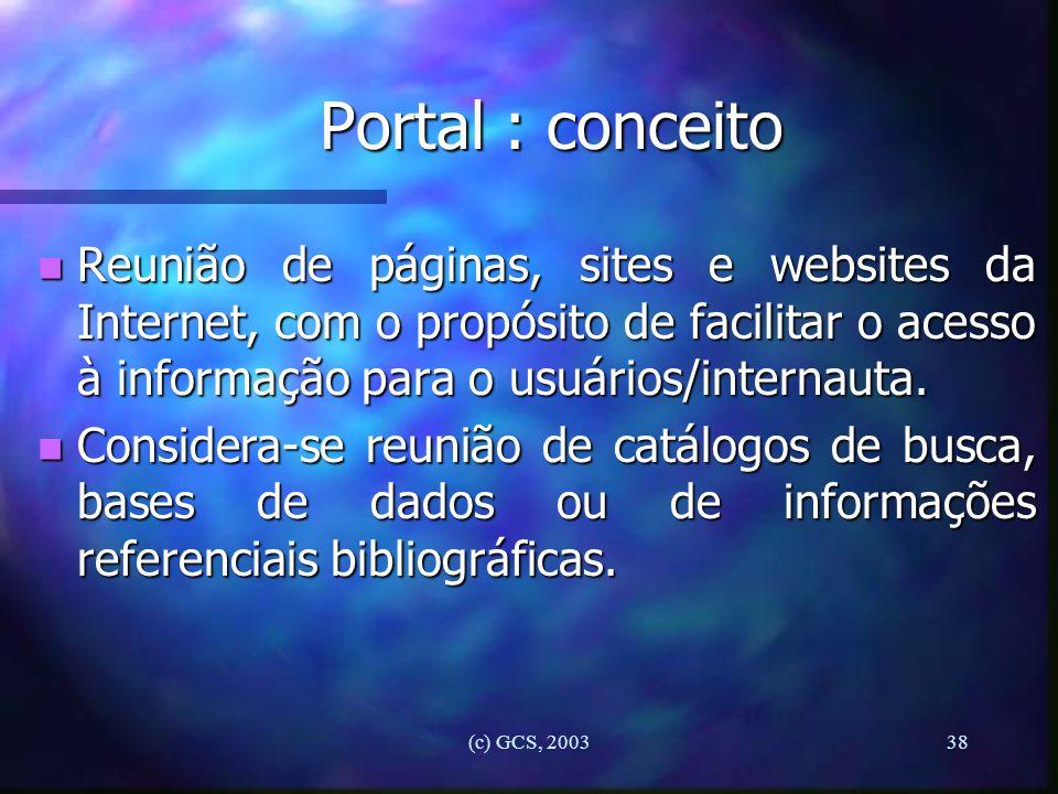 Portal : conceito Reunião de páginas, sites e websites da Internet, com o propósito de facilitar o acesso à informação para o usuários/internauta.