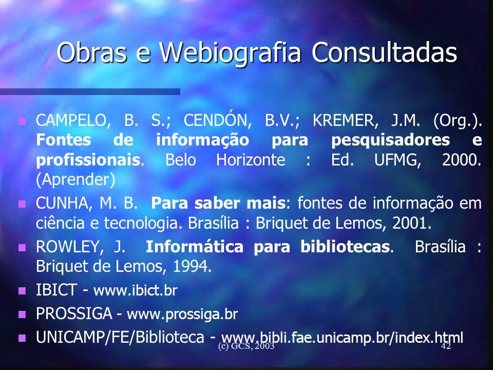 Obras e Webiografia Consultadas