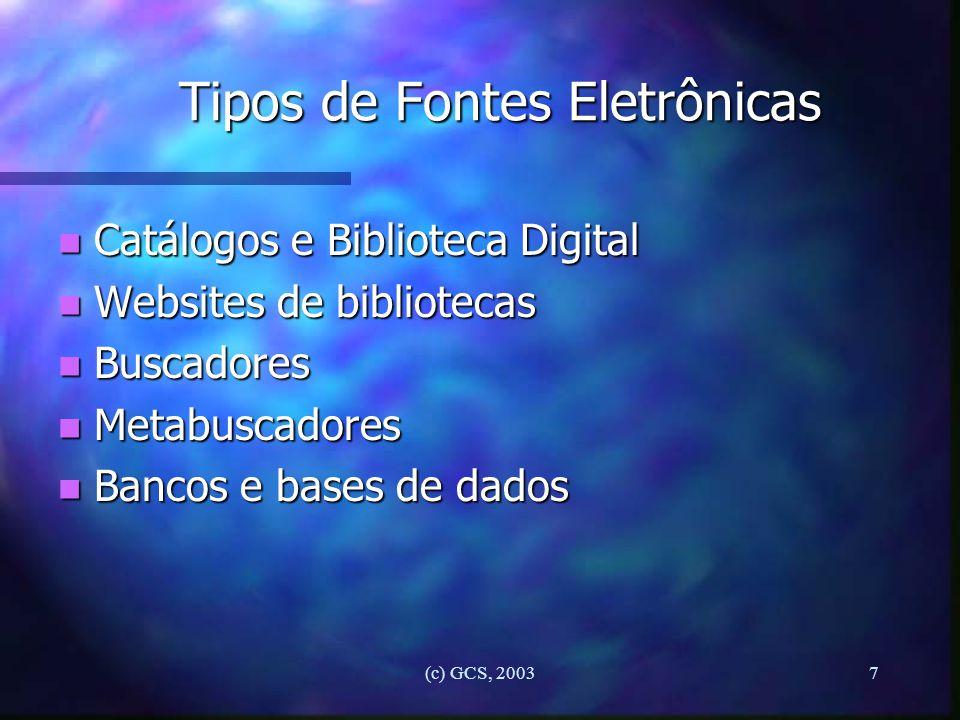 Tipos de Fontes Eletrônicas