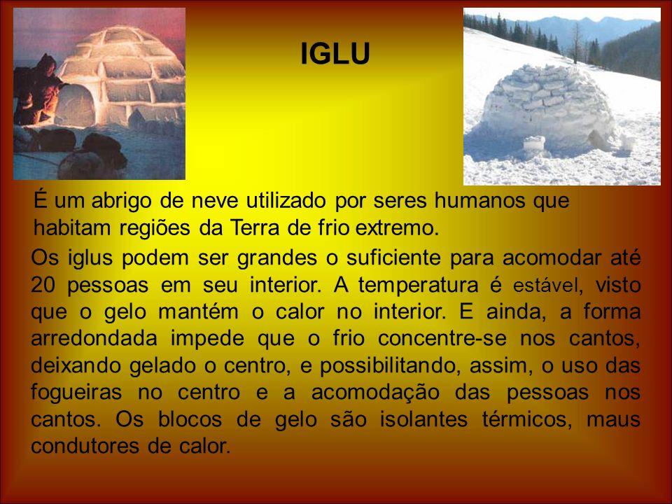 IGLU É um abrigo de neve utilizado por seres humanos que habitam regiões da Terra de frio extremo.