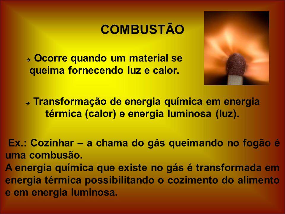 Ocorre quando um material se queima fornecendo luz e calor.