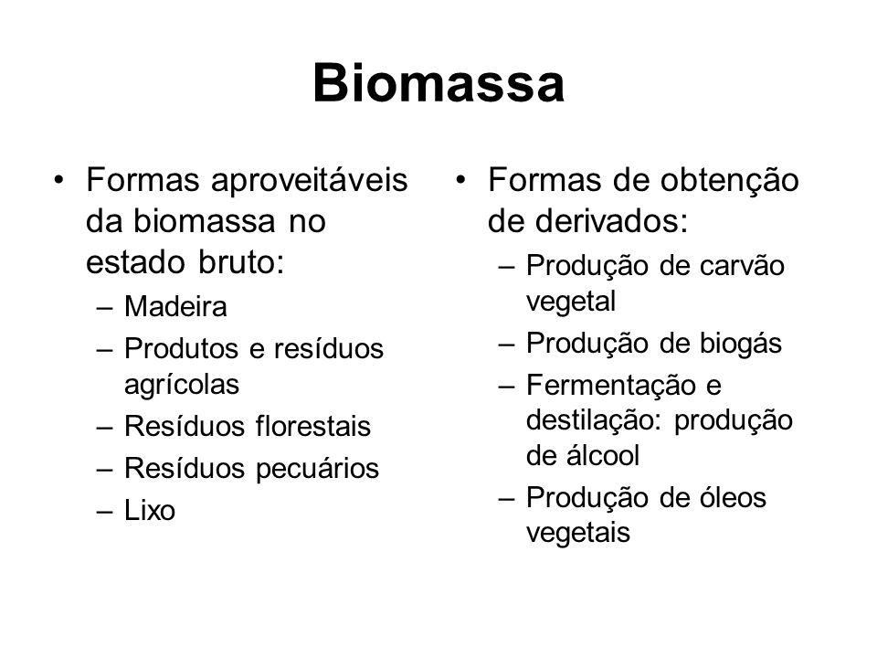 Biomassa Formas aproveitáveis da biomassa no estado bruto: