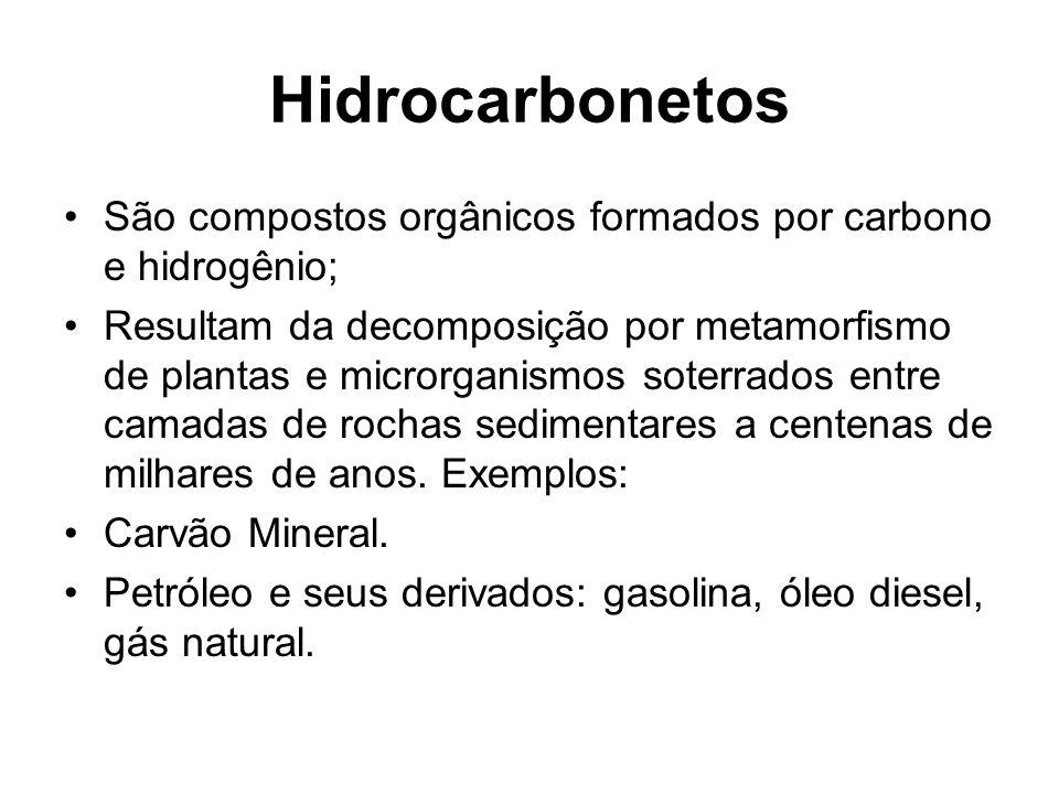 Hidrocarbonetos São compostos orgânicos formados por carbono e hidrogênio;