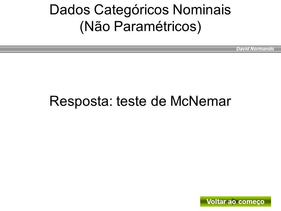 Dados Categóricos Nominais (Não Paramétricos)