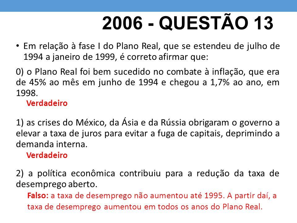 2006 - QUESTÃO 13 Em relação à fase I do Plano Real, que se estendeu de julho de 1994 a janeiro de 1999, é correto afirmar que: