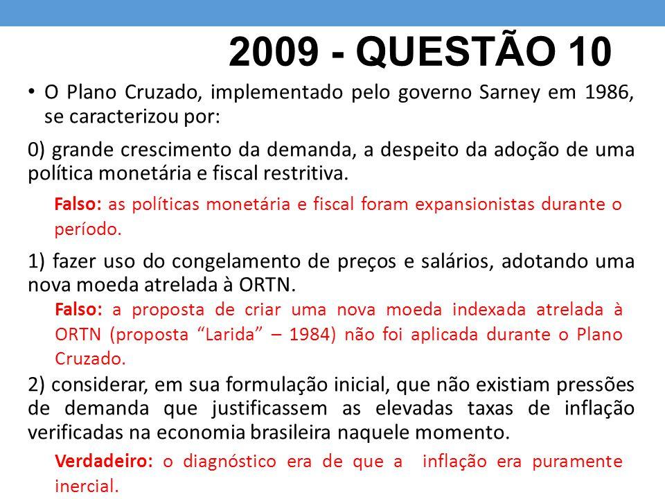 2009 - QUESTÃO 10 O Plano Cruzado, implementado pelo governo Sarney em 1986, se caracterizou por: