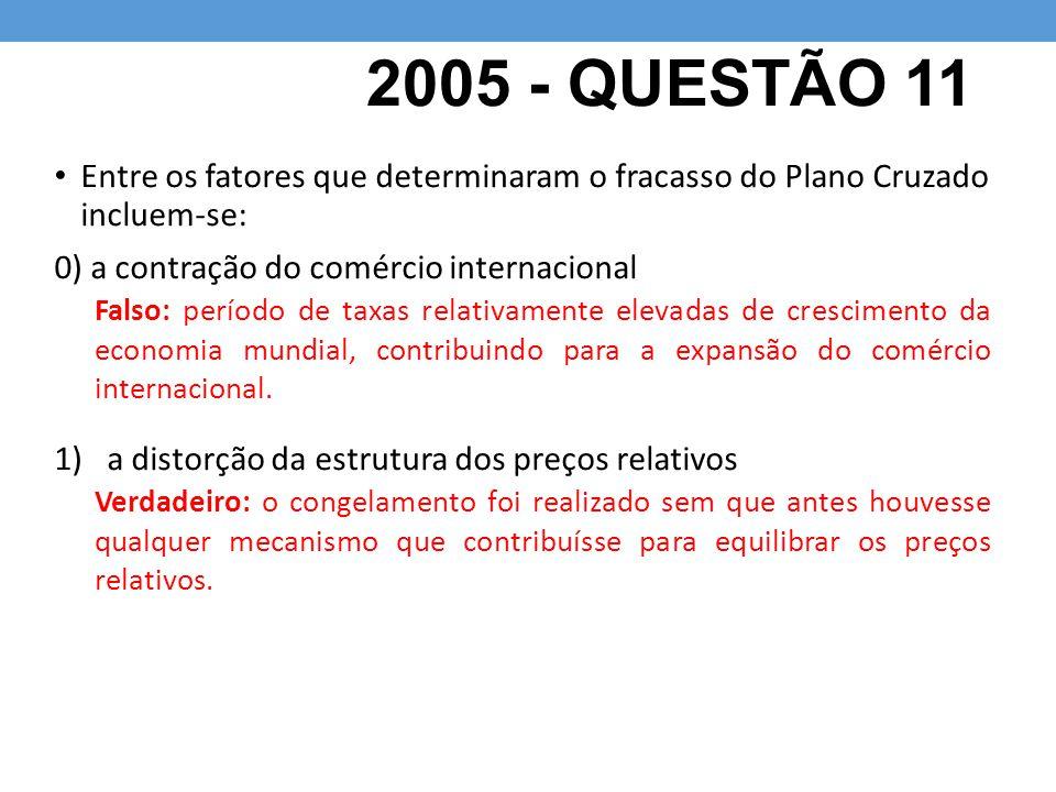 2005 - QUESTÃO 11 Entre os fatores que determinaram o fracasso do Plano Cruzado incluem-se: 0) a contração do comércio internacional.
