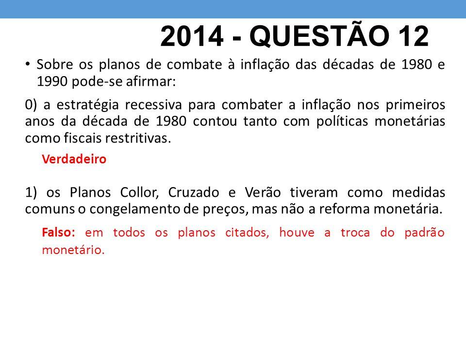 2014 - QUESTÃO 12 Sobre os planos de combate à inflação das décadas de 1980 e 1990 pode-se afirmar:
