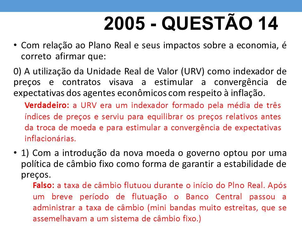 2005 - QUESTÃO 14 Com relação ao Plano Real e seus impactos sobre a economia, é correto afirmar que: