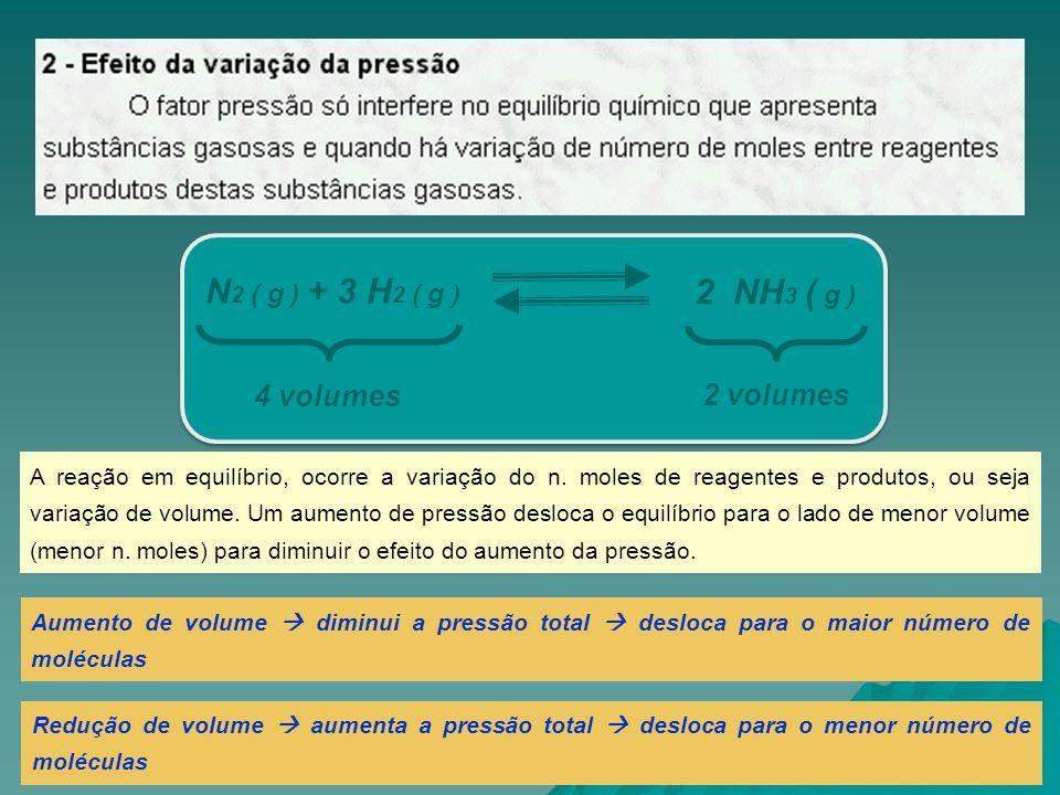 N2 ( g ) + 3 H2 ( g ) 2 NH3 ( g ) 4 volumes 2 volumes