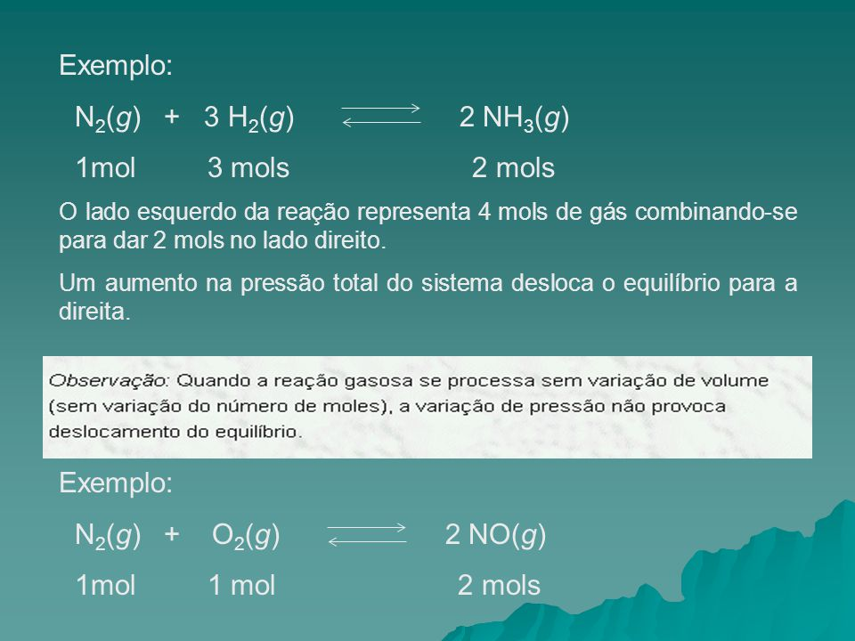Exemplo: N2(g) + 3 H2(g) 2 NH3(g) 1mol 3 mols 2 mols Exemplo: