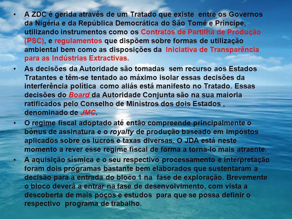 A ZDC é gerida através de um Tratado que existe entre os Governos da Nigéria e da República Democrática do São Tomé e Príncipe, utilizando instrumentos como os Contratos de Partilha de Produção (PSC), e regulamentos que dispõem sobre formas de utilização ambiental bem como as disposições da Iniciativa de Transparência para as Indústrias Extractivas.