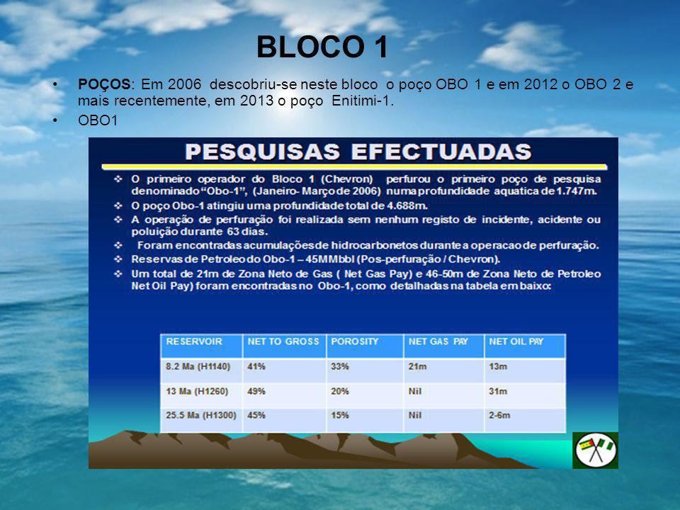 BLOCO 1 POÇOS: Em 2006 descobriu-se neste bloco o poço OBO 1 e em 2012 o OBO 2 e mais recentemente, em 2013 o poço Enitimi-1.