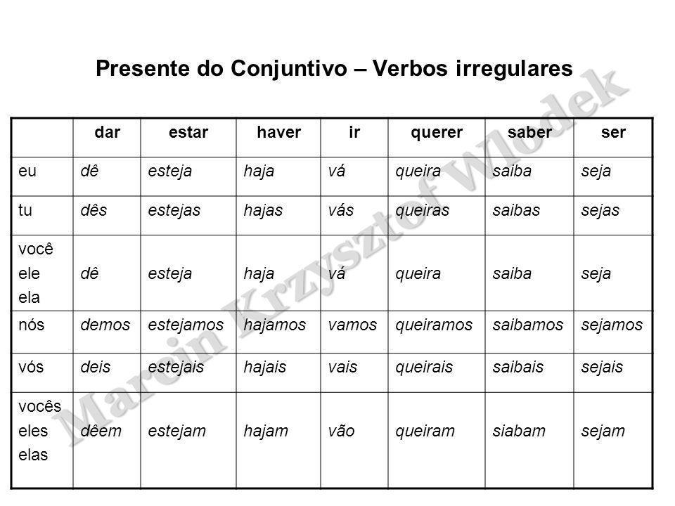 Presente do Conjuntivo – Verbos irregulares