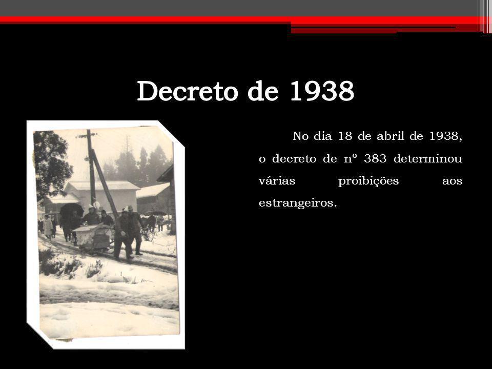Decreto de 1938 No dia 18 de abril de 1938, o decreto de nº 383 determinou várias proibições aos estrangeiros.